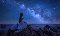 Starry Heaven (Ateens Chen) Tags: longexposure sea portrait people nature night landscape hongkong nikon dd volks ateens milkyway carlzeiss dollfiedream starrysky hyperfocaldistance d700 zf2 ドルフィードリーム distagont2821 ボークス 森川由綺 morikawayuki