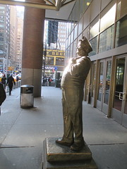 Ralph Kramden on a Sunny Day 3606 (Brechtbug) Tags: new york city winter holiday cold bus weather statue bronze port lunch is jackie uniform day authority january tie sunny front terminal an midtown his while chilly jolly gleason ralph stands drivers straightening pail clutching clad manhattans honeymooners 2015 kramden eightfoottall kramdon 01082015