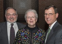 Past board presidents Christopher Weinrich and June Hallowell, and current board president Ralph McDevitt