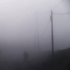 brouillard (Kwikwaju) Tags: road white black france fog landscape ghosts