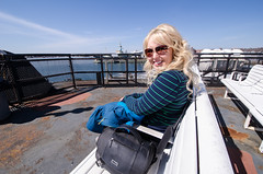 Theresa on the Martha's Vineyard ferry bench (m01229) Tags: ma unitedstates capecod massachusetts falmouth d7000 nikon1024mm
