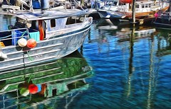 My Vancouver. Lady Luck,  Harbour Reflections. (kennethcanada1) Tags: canada vancouver reflections boats harbor fishing kennethcanada
