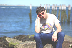 _____ (imJBD) Tags: ocean boy red summer man castle beach sunglasses june rock boston ma island boat spring dock rocks massachusetts may jeans april selfie