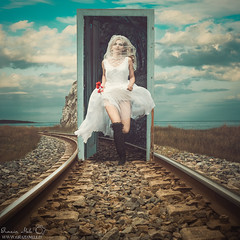 Faraway (Grazia Mele) Tags: door sky cloud girl train bride sardinia tracks manipulation graziamele
