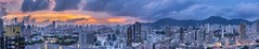 Kowloon Sunset (Marc Harrod) Tags: city sunset panorama zeiss 35mm hongkong asia sony hong kong stitching photomerge photostitch lionrock bluemoment a7r sunsethongkong cbiogon