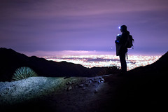 Mother and Child Above the City (Kevin Dinkel) Tags: above city travel blue light boy baby black night clouds dark landscape photography lights la losangeles glow child purple hiking mother hike headlamp sillhouette carry stoked kevindinkel