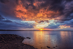 Rainy sunset (L.Matero) Tags: blue sunset orange lake beach water rain clouds canon landscape colorful rainy shore stunning 6d 1635 kainuu suomussalmi