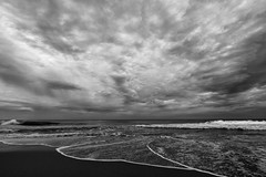 'Ultrasound' (Canadapt) Tags: sunset bw beach portugal clouds sand surf waves ultrasound praiagrande canadapt fetusintheclouds