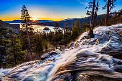 Eagle Falls Sunburst, Lake Tahoe (Greg Clure Photography) Tags: california lake mountains sunrise landscape bay photo waterfall spring seasons image eagle nevada tahoe falls sierra eastern emerald gallary otherkeywords