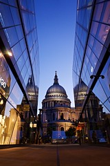 St Pauls Place (Nanagyei) Tags: blue reflection building london church yellow mirror cathedral dusk pov sony low stpauls dome stpaulscathedral a7 lowpov
