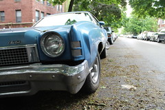Happy To Be Here (Flint Foto Factory) Tags: street camera city urban chicago classic chevrolet car turn illinois spring gm view personal north platform may front glenwood chevy bumper american clark headlight carlo monte signal andersonville luxury coupe 1973 edgewater balmoral colonnade abody generalmotors intermediate 2016 landau midsize 2door threequarter sooc worldcars straightoutof