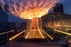 Navy Pier Tilt-a-Whirl (ronitbez) Tags: longexposure chicago color wheel night lights centennial mirro ferris ferriswheel navypier rides bluehour chicagoist sonya7