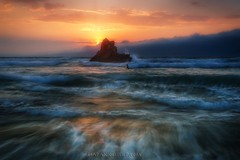 Last Whispers (Blai Figueras) Tags: longexposure sunset sea sky panorama costa sun seascape beach water clouds reflections landscape coast mar seaside agua rocks flickr stones horizon atmosphere playa paisaje le cielo paraiso euskadi rocas silkeffect