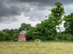 Cheshire landscape 03 HD jun 16 (Shaun the grime lover) Tags: sky horse building tree field rain animal clouds barn landscape countryside warrington cheshire farm hdr grappenhall lumbbrook