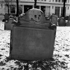 Grave - Granary Burial Ground (paulgumbinger) Tags: blackandwhite grave boston 35mm skull nikon massachusetts cemetary extreme 100 f3 crossbones granary ultrafine