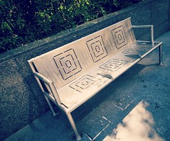 Monday it is... HBM. (France-) Tags: toronto ontario canada metal bench 19 banc