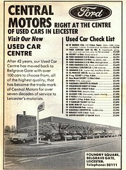 1981 ADVERT CENTRAL MOTORS FOUNDRY SQUARE BELGRAVE GATE LEICESTER - FORD DEALER (Midlands Vehicle Photographer.) Tags: ford foundry square gate leicester central motors advert 1981 dealer belgrave