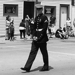 Memorial Day Parade, young Marine. (Amy Helina) Tags: blackandwhite marine parade veteran memorialday semperfi blackandwhitephotography usarmedforces