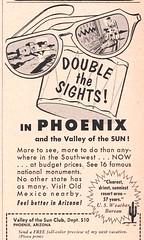 Double the Sights in Phoenix!  1952 Travel Ad (hmdavid) Tags: travel sunset arizona art phoenix illustration vintage magazine glasses october ad advertisement 1950s 1952 midcentury valleyofthesun