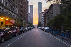 Sunset over UWS (wwward0) Tags: bicycle car cc manhattan nyc outdoor parked sky street sunny sunset tower upperwestside uws wwward0 newyork unitedstates us