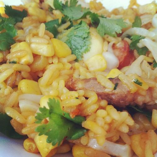 arroz de cerdo y mariscos