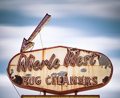 Merle West Rug Cleaners (Shakes The Clown) Tags: california old signs shop vintage typography lights flickr illumination retro socal signage font arrow southerncalifornia signlanguage 1934 whittier smugmug 500px canon5dmarkii marcshurphotographycom marcshur signgeeks