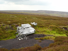 Wreckage of Short Stirling LJ628 in Stainery Clough, Upper Commons, S Yorkshire, photo taken on 30th May 2004. (Dave Wragg) Tags: aircraft worldwarii wreck wreckage raf aircrash shortstirling uppercommons lj628 syorkshire staineryclough