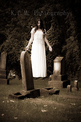 Left Behind (Belcantosoprano) Tags: old white graveyard contrast weird scary ghost levitation faded klm oldfashioned kirstie fashioned leftbehind levitationphotography