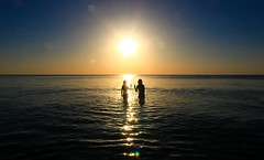 bathing in the sea at sunset - Tel-Aviv beach - November  8  2014 (Lior. L) Tags: november light sunset sea sun reflection beach water silhouette canon reflections golden i