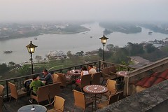From the rooftop of the Imperial hotel (SM Tham) Tags: people rooftop dusk vietnam rivers views hotels hue perfumeriver imperialhotel