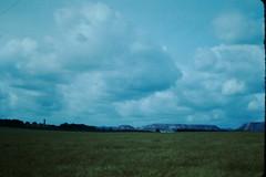 1949-Shale Residue and Grain Fields-Scotland (foundslides) Tags: scotland edinburgh uk britain 1950s 1953 irmalouiserudd found slides retro vintage rudd irma john kodachrome britishisles europe greatbritain britannia travel international travelling pictures tourism 50s 1949 1940s 40s foundslides redborder oldphotos johnrudd analog slidecollection irmarudd
