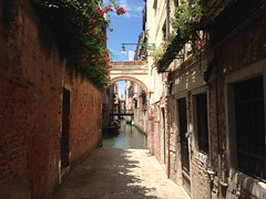 Venice...walls and water (dxr87) Tags: flowers venice summer italy brick lamp canal arch walls redbrick