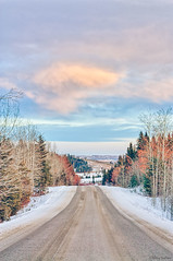 354/365 - Winter Journey (Keeperofthezoo) Tags: road street travel trees winter sunset sky snow canada cold beautiful clouds landscape outdoors frozen scenery dusk seasonal scenic alberta backroad hdr plummersroad abertasky