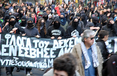 Activists of the black bloc at a protest march in Athens, Greece (paul.katzenberger) Tags: protest athens greece demonstrators blackbloc eurocrisis