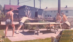 Dan and Don (left) challenge Paul and Darcy to an exciting Ping Pong doubles match while Doug looks on. (dgrendus) Tags: pingpong vancouver quebecstreet doug paul darcy don dan 1970s