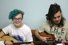 My Daughter and a friend jamming in the kitchen! (chrisw09) Tags: friend singing ukulele guitar daughter bluehair recording woodcraftfolk youtube