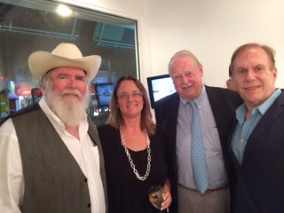 Everglades photographer Clyde Butcher with daughter Jackie, Jack Lowell and Architectonica principal Bernard Fort Brescia at the opening of Clyde's new gallery in the Grove