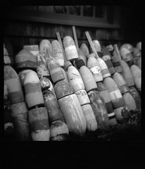 Lobster Trap Buoys (G.A.R.) Tags: photoshop ma marblehead kodak tmax diana 400 yellowfilter tmy400 vuescan colorperfect