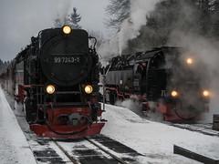 Begegnung in Drei Annen Hohne (grapfapan) Tags: winter snow steam locomotive harz steamtrain harzerschmalspurbahn hsb dampflokundbahn