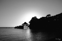 Mono Jetty Sunset (Daniel Y. Go) Tags: travel sunset vacation bw beach mono fuji jetty philippines shangrila boracay shangrilaboracay x100t fujix100t
