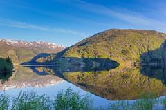 Mountain Reflection (oggiwara) Tags: morning blue summer mountain lake norway reflections e16 vaksdal evangervatnet