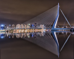Bow and Arrow (mcalma68) Tags: longexposure bridge architecture night reflections rotterdam waterfront erasmusbrug