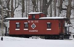 Canaseraga, New York (1 of 2) (Bob McGilvray Jr.) Tags: wood railroad red ny newyork yard train private wooden display tracks caboose cupola erie canaseraga