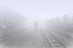 A W A L K to Remember~ Ghum, Darjeeling (Sandipa Malakar (bristii)) Tags: india mist monochrome umbrella couple asia nostalgia monsoon endless railtrack canon1740l northbengal walktogether canon60d ghumstation darjeelingmountainhilltown monssonmood sandipamalakar