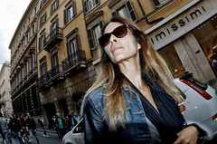 Up town girl. (Baz 120) Tags: life street city portrait people italy rome colour roma girl contrast europe italia faces candid strangers streetphotography streetportrait olympus streetphoto unposed streetfaces omd decisivemoment candidportrait candidphotography m43 streetcandid mft streetphotograph primelens em5 romestreets romepeople candidstreet candidface flashstreetphotography 75mmfisheye romecandid