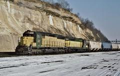 CNW 6500 in St Paul, Minnesota on February 27, 1993. (soo6000) Tags: railroad minnesota train freight sd45 emd cnw 6500 chicagoandnorthwestern fallenflag emita daytonsbluffstpaul cnw6500