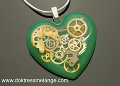steampunk heart gear pendant necklace resin doktress melange artisan hand made (2) (Doktress Melange) Tags: steampunk heart pendant necklace green hand made gears cogs artisan resin
