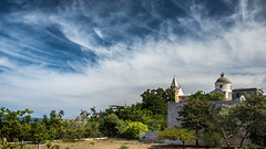 Amazing Sky (kuhnmi) Tags: italien blue sky italy cloud white church clouds buildings landscape italia cloudy scenic himmel wolken sicily picturesque landschaft stromboli sizilien cloudformations landscapephotography bewlkt landschaftsfotographie