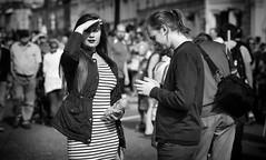 More interested in me (Just Ard) Tags: woman sheilding hand stripes people person face street photography candid unposed black white mono monochrome bw blackandwhite noiretblanc biancoenero schwarzundweis zwartwit blancoynegro  justard nikon d750 85mm