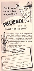 Duck Your Cares for a Spell of... PHOENIX - 1952 travel ad (hmdavid) Tags: travel sunset arizona sun man art phoenix illustration vintage magazine march cowboy ad advertisement 1950s 1952 midcentury valleyofthesun